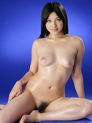 Saori Hara Asian shows hairy pussy while fondling oiled boobies
